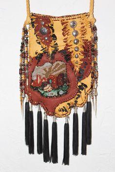 New handbag with seed bead work by Carole Hook Hippie Bohemian, Boho Gypsy, Bohemian Style, Denim Handbags, New Handbags, Beaded Purses, Beaded Bags, Leather Bags, Leather Jewelry