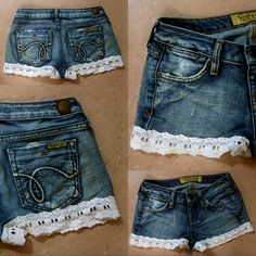 I took an old pair of Hollister jeans that had a rip just under the back pocket, cut them into shorts, then used fabric glue and some sewing to attach the lace trim.