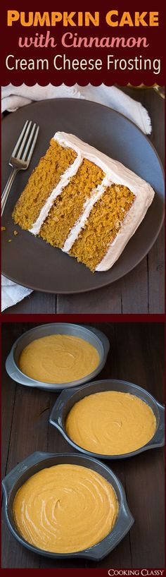 Pumpkin Cake with Cinnamon Cream Cheese Frosting - This cake is a must ...