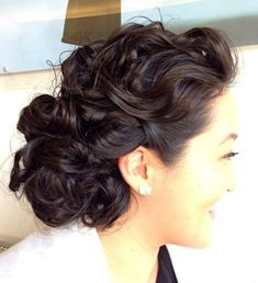 loose curly formal updo