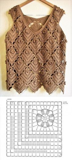 Beautiful blouses made with crochet square ⋆ Facing The Sea - Beautiful blouses made with crochet square - Débardeurs Au Crochet, Pull Crochet, Mode Crochet, Crochet Cardigan, Crochet Stitches, Crochet Patterns, Crochet Squares, Beautiful Blouses, Crochet Clothes