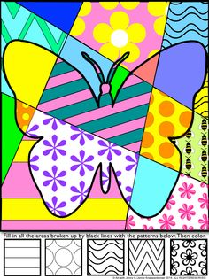 """Students add bold patterns to my """"pop art"""" spring designs and then color their pictures to produce a fun, eye-catching, """"Pop Art""""-styled sign of spring!"""