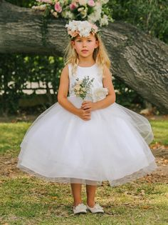 c6364a92c1f Girls Special Occasion White Tulle Dress is simply adorable and perfect for  the budget conscious mom. Great as a flower girl first communion dress as  well.