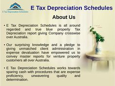 E Tax Depreciation Schedules Australia can't abstain from being Australia's driving firm who give the best cost debasing association. Here your devaluation graph is done under the master surveyor. In Australia you will effectively get the best examination rot surveyor obliging beside zero effort with Tax Depreciation Schedule Australia.