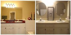 This Is A Step By Step Tutorial On Painting Laminate Countertops. This Is Her Before And After Of Her Master Bathroom Makeover. She Also Shows Her Son's Bathroom Countertops That She Painted.