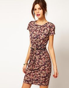 Enlarge Warehouse Blurred Ditsy Print Dress