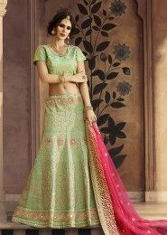 Wedding Wear Green Art Silk Zarkan Work Lehenga Choli