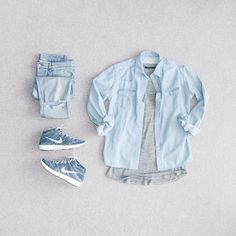 Mono #MaisonKitsune Denim Shirt #ksubi Chitch Denim #JohnElliottCo Curve Tee #Nike Lunar Flyknit Chukka #OutfitGrid @outfitgrid