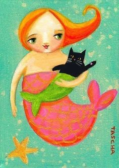 MERCAT! This has to be the cutest thing I've ever seen. - Mermaid and Mer-cat PRINT of original painting by tascha