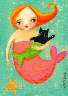 Black cat (mercat) and mermaid. So cute! #mermaids #art #cute #cats