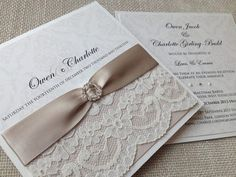 #Wedding #Stationery - A touch of lace gives a beautiful vintage feel to your invitations. http://www.weddingsknowhow.com