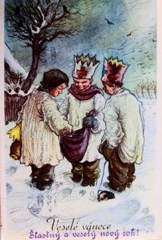 We were browsing online for vintage and old Czech Christmas cards and postcards from then called Czechoslovakia (now the Czech Republic) and we found so many that we decided to share the best ones here with you. Vintage Christmas Cards, Retro Christmas, Christmas Pictures, Antique Pictures, Vintage Children, Illustrators, Merry, Seasons, Postcards
