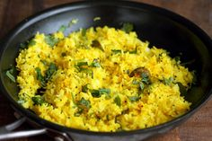 Turmeric Lemon Rice Recipe. Golden Rice with turmeric, lemon and mustard seeds. Use cooked brown rice, quinoa or millet or couscous for variation. Easy side. Vegan Gluten-free Soy-free Recipe | VeganRicha.com