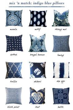small shop: indigo blue pillows