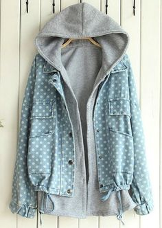 9882d41ef69e8 Dot Leisure Hooded Two Pieces Denim Jacket