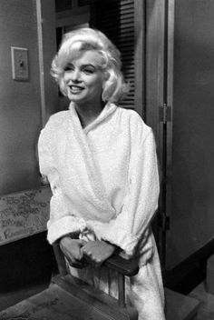 Marilyn in her dressing room during the filming of Something's Got To Give, 1962.