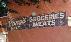 Bang's Mkt. Groceries Meats ghost sign in Over-the-Rhine, Cincinnati