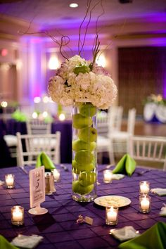 Purple And Green Wedding Centerpieces | Tampa Wedding Linen Rentals - Kate Ryan Linens Specialty Wedding ...
