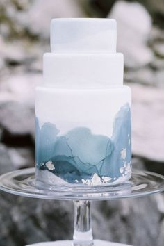 Watercolor Cakes Are the Next Big Wedding Trend via @PureWow - WINTER WEDDING CAKE created by Krista Juracek at Sainte G. Cake Company (=)