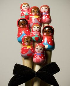 babushka knitting needles. these are so cute, it makes me want to learn to knit.