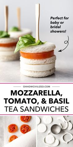 In need of an easy-to-make finger food recipe for hosting a baby or bridal shower? You'll love how easy it is to make your own batch of Mozzarella, Tomato, and Basil Tea Sandwiches. These treats are crustless, tasty, and perfect for the gram. Click to learn the step-by-step. High Tea Sandwiches, Finger Sandwiches, Sandwich Recipes, Snack Recipes, Basil Tea, Hot Tea Recipes, Tea Etiquette, Tea Time Snacks, How To Make Tea