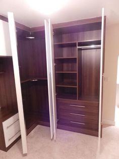 Dark Walnut corner fitted wardrobe with white high gloss hinged doors