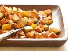 Warm fall spices and slightly sweet sherry vinegar coat this delicious mixture of cubed sweet potatoes and pears. The flavors of this healthy side dish will complement any holiday roast.