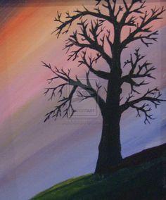 Silhouetted Tree by angeloftheprairie.deviantart.com on @deviantART