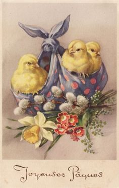 Set of TWO French Vintage Easter Chicks Fabric Blocks - Great for Quilting, Pillows & Wall Art - cards for messenger Set of TWO French Vintage Easter Chicks Fabric Blocks - Great for Quilting, Pillows & Wall Art - Buy Get 1 FREE Vintage Easter, Vintage Holiday, Easter Art, Easter Bunny, Vintage Greeting Cards, Vintage Postcards, French Postcards, Vintage Ephemera, Images Vintage