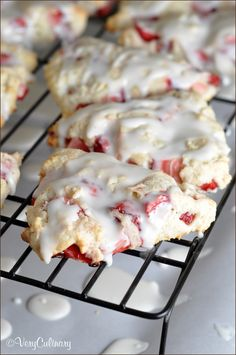 Tender flaky scones with fresh strawberries throughout and a dreamy glaze!