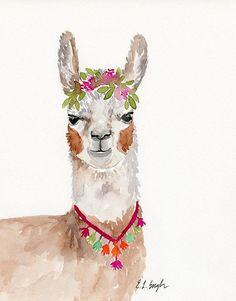 Watercolor Llama original watercolor painting original art