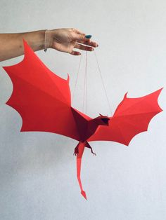 Game of Thrones inspired Dragon (Wyvern) - Make your own paper mobile, Wall Art, Dragon Party Decorations, Game Room Decor, Fantasy Decor Instruções Origami, Origami Dragon, Paper Crafts Origami, Origami Flowers, Origami Boxes, Dollar Origami, Origami Bookmark, Oragami, Useful Origami