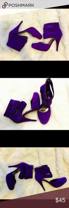 Velvety leather purple Steve Madden heels 6.5 This listing is for a pair of Steve Madden purple strap high heels size 6.5. And 4.5 inch heel. they have five straps that crisscross around your ankle and these heels have a zipper in the back, it is Genuine leather and it feels like velvety suede only worn twice great condition no stains on the purple velvety leather no scuffs on the purple part either the only scuffs is on the bottom from wearing them twice but it's not bad at all you can tell…