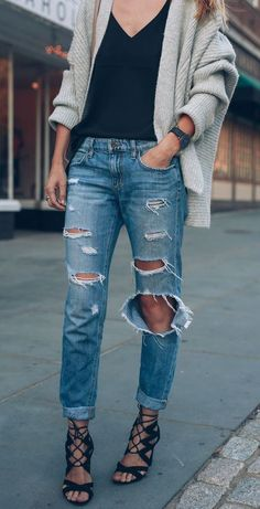 how to wear ripped jeans : cardigan + black top + lace-up heels