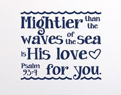 Psalm 93:4 Mightier than the waves of the sea is His love for you -Nautical Nursery Sailor anchor wall decal Child Vinyl