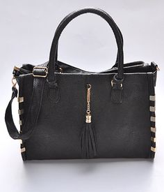 Metal Accent Faux Leather Tote