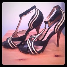 L.A.M.B - Black with Tan & Brown Trim 10 L.A.M.B - Black with Tan & Brown Trim heels. L.A.M.B. Shoes Heels
