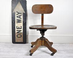 Vintage Wood Office Swivel Chair / Desk Chair / Office Decor