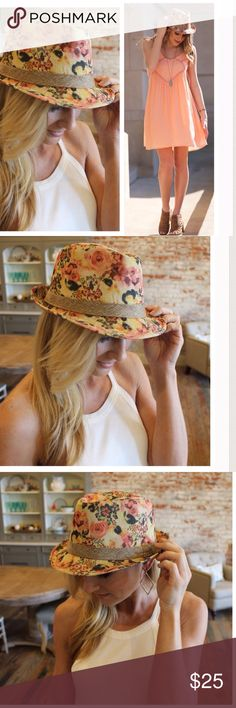 Peach Floral Fedora Gorgeous for spring!  Add a pop of brightness to any outfit with this statement floral fedora hat. Accessories Hats