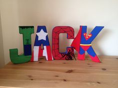 """Superhero fabric wall letters - could make all star wars for Jackson's new """"big boy"""" room"""
