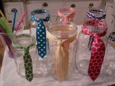 Tutu and tie birthday party. Make ties out of ribbon on mason jars for the party! Ballerina Party, Ballerina Birthday Parties, Man Birthday, Birthday Gifts, Birthday Cakes, Diy Father's Day Gifts Easy, Father's Day Diy, Party Favors, Mason Jars