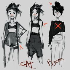 Sketching for Cat. Also ended up with Pigeon. 2 characters in one sketch :D