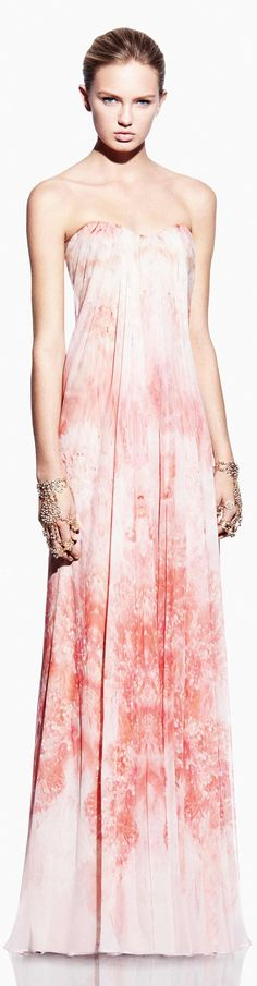 Beautiful pink floral Alexander McQueen gown.  Added by @Inga Ferreira via lshadmanova. #gown #pink