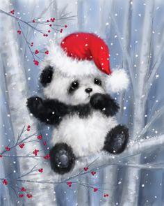 Christmas Panda, Christmas Animals, Christmas Art, Xmas, Merry Christmas Pictures, Winter Thema, Christmas Phone Wallpaper, Christmas Images Wallpaper, Christmas Scenery