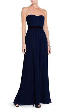 Dark Blue Amber Strapless Evening Gown   BCBG