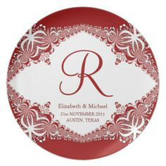 White Diamond Red Lace Monogram Wedding Gift Plate #homedecor #red #monogram