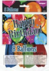 Bravo Birthday Asst 12 inch Balloons 8/pkt