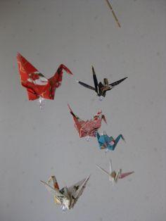 Origami Window Mobile  Hand Crafted Yuzen Washi A por makikomo, $12.00