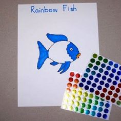 """A great activity after reading """"The Rainbow Fish"""" Use stickers to add colorful scales to the Rainbow Fish"""