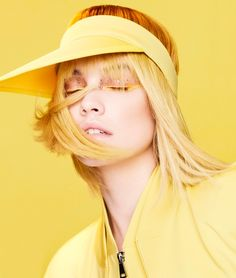 Looking mellow yellow, Barbara Palvin models Max Mara hat, jacket and jumpsuit